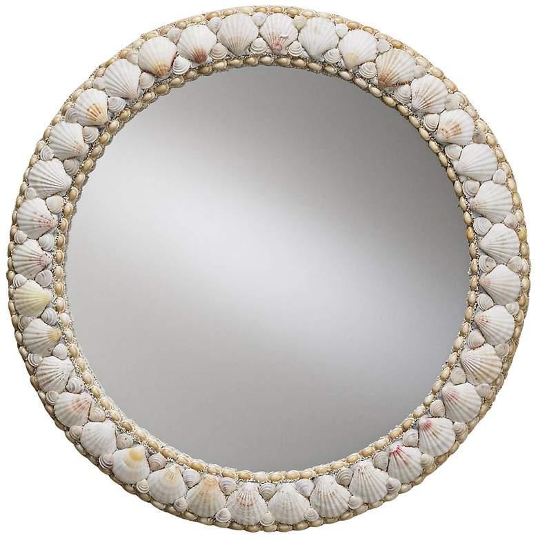 "Currey And Company Harbor 21"" Round Shell Wall Mirror"
