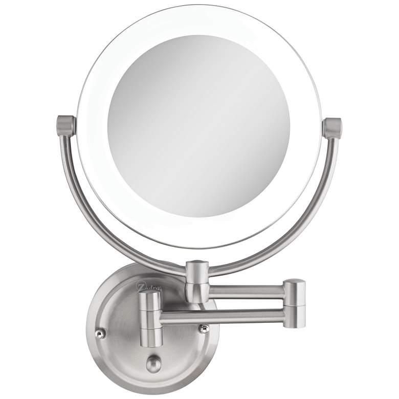 "Surround Lighted 12 3/4"" High Satin Nickel Makeup Mirror"