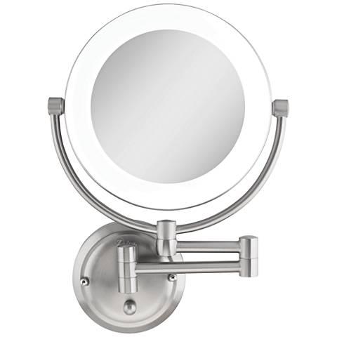 """Surround Lighted 12 3/4"""" High Satin Nickel Mirror"""
