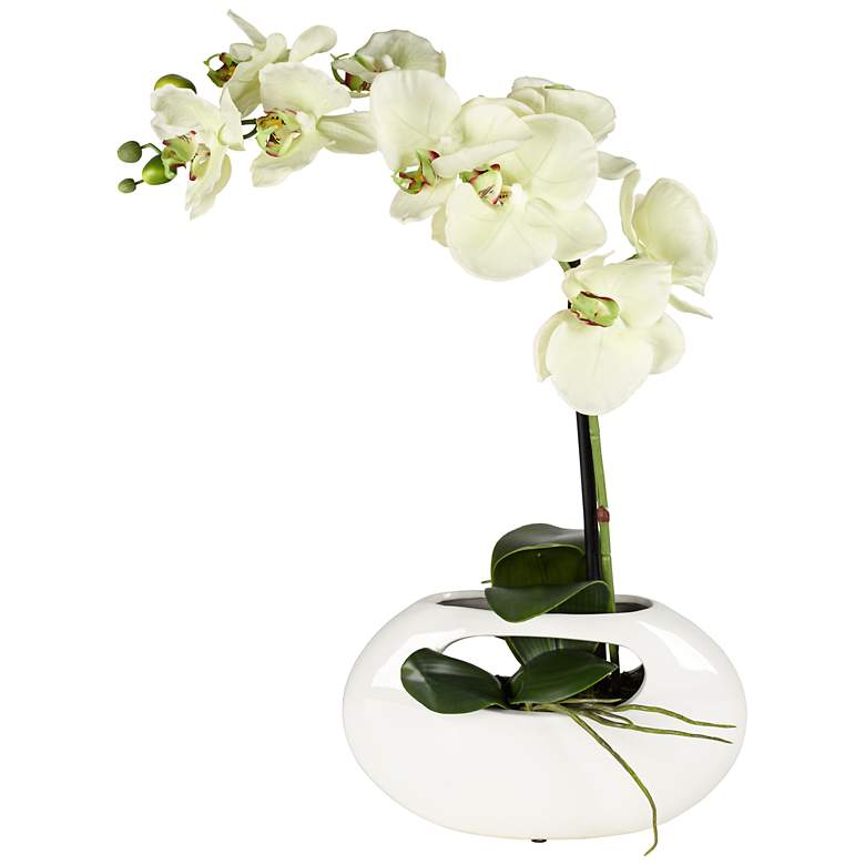 """Single Stem Yellow 16"""" High Faux Orchid in White Ceramic Pot"""
