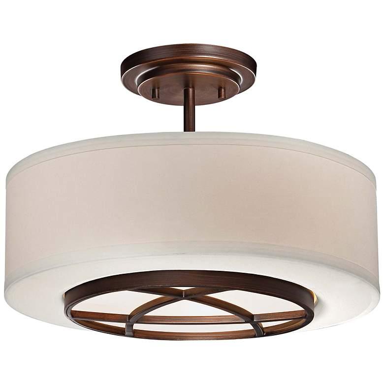 "City Club 15"" Wide Brushed Bronze Semi-Flush Ceiling Light"
