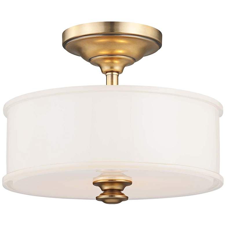 """Harbour Point 13 1/2"""" Wide Etched White Glass Ceiling Light"""