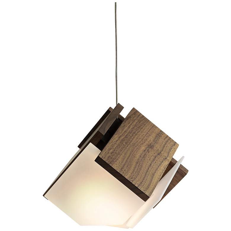 "Cerno Mica 9"" Wide Oiled Walnut LED Mini Pendant"
