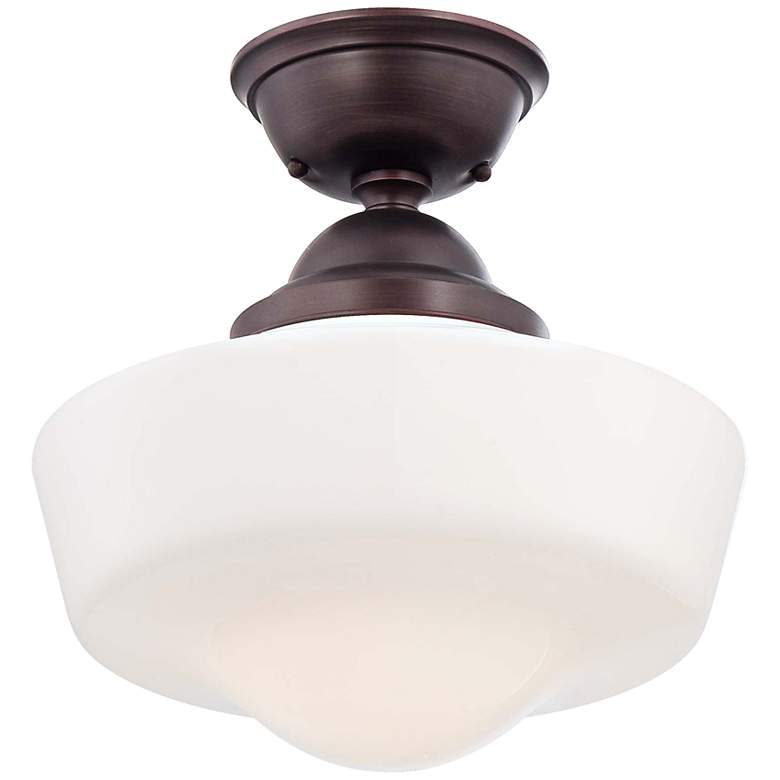 """Schoolhouse Style 13 3/4"""" Wide Brushed Bronze Ceiling Light"""