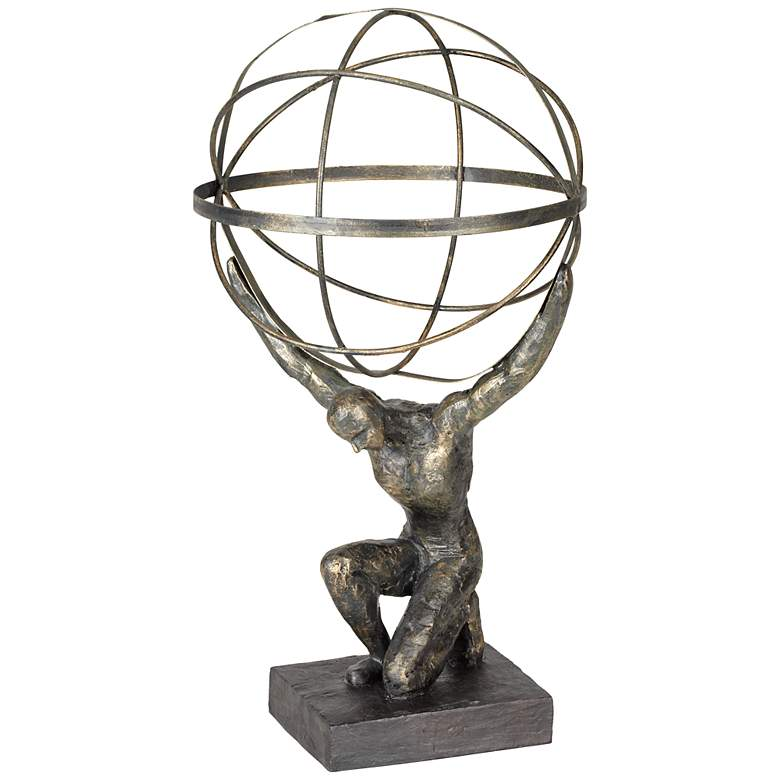 "Atlas with Globe 17 1/4"" High Bronze Sculpture"