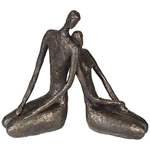 "Loving Couple 11 1/2"" Wide Bronze Sculpture"