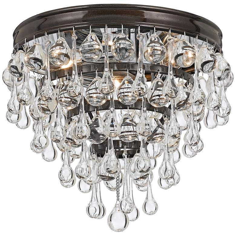 "Crystorama Calypso Bronze 10"" Wide Clear Glass Ceiling Light"