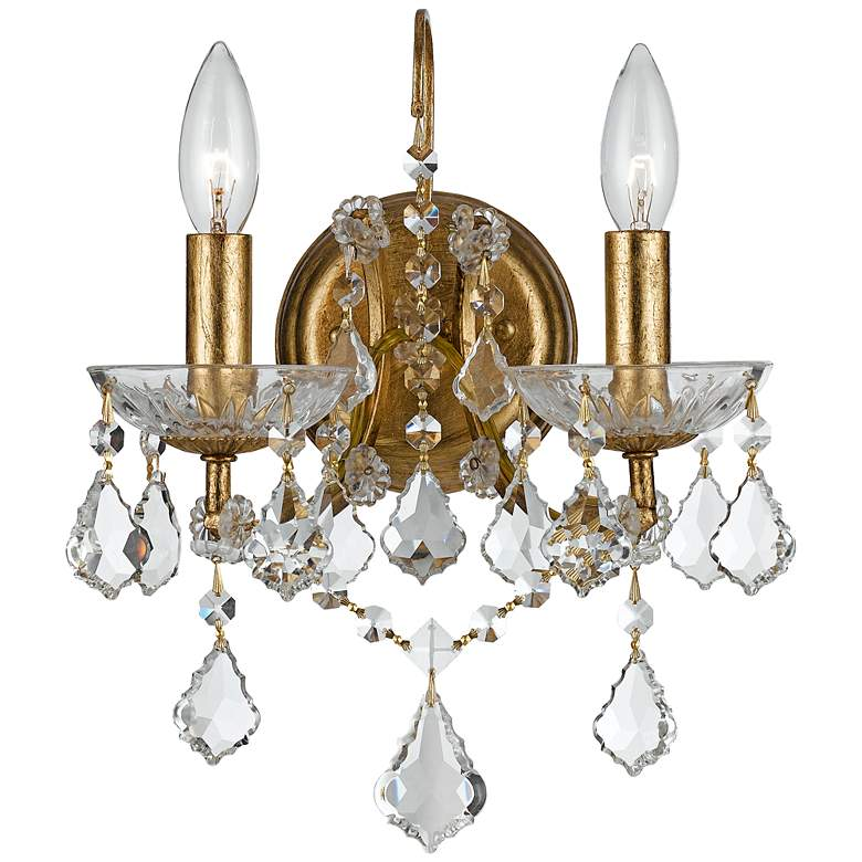 """Crystorama Filmore Gold 12 1/2"""" High Crystal Wall Sconce"""