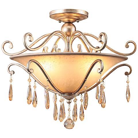 """Crystorama Shelby 21"""" Wide Twilight Crystal Ceiling Light"""