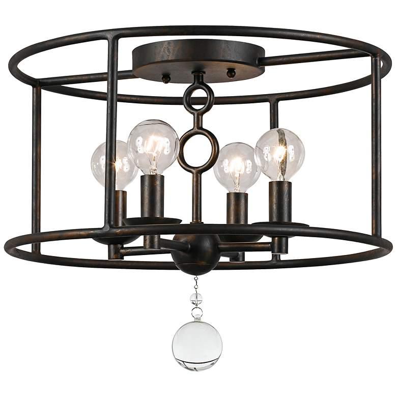 "Crystorama Cameron 15"" Wide Bronze Ceiling Light"