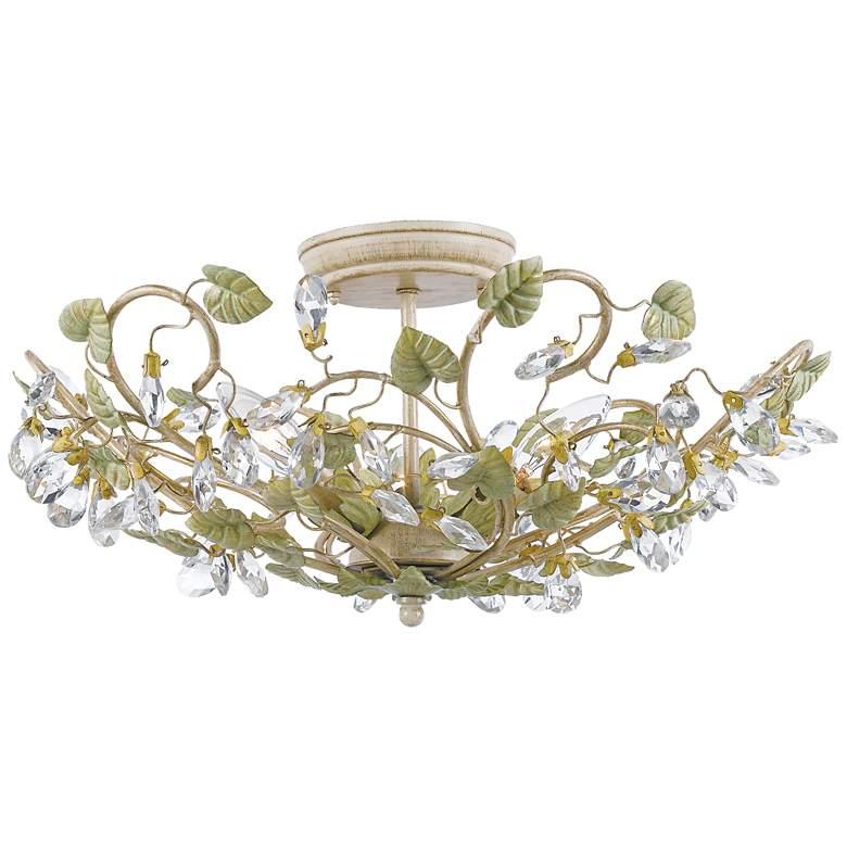 "Crystorama Josie 20 1/2"" Wide Floral Crystal Ceiling Light"