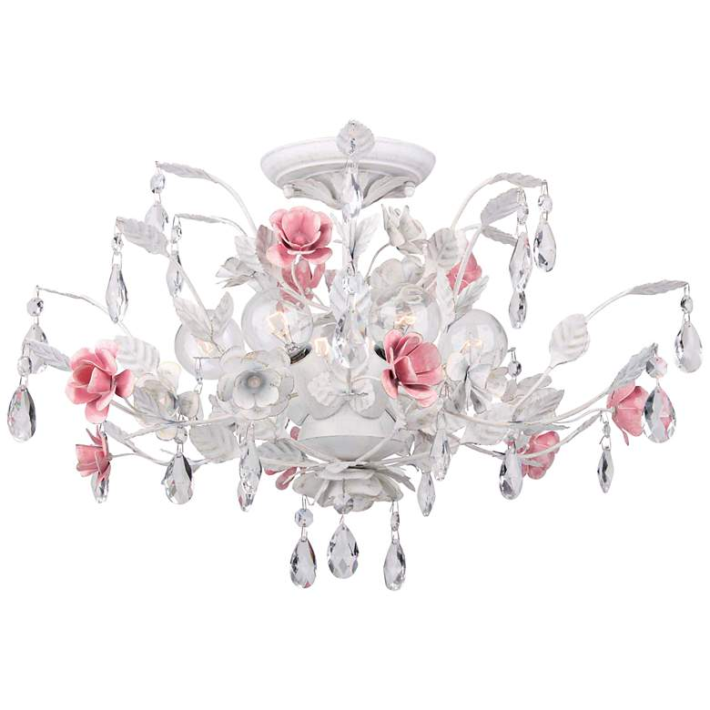 """Crystorama Lola 20"""" Wide Antique White Ceiling Light"""