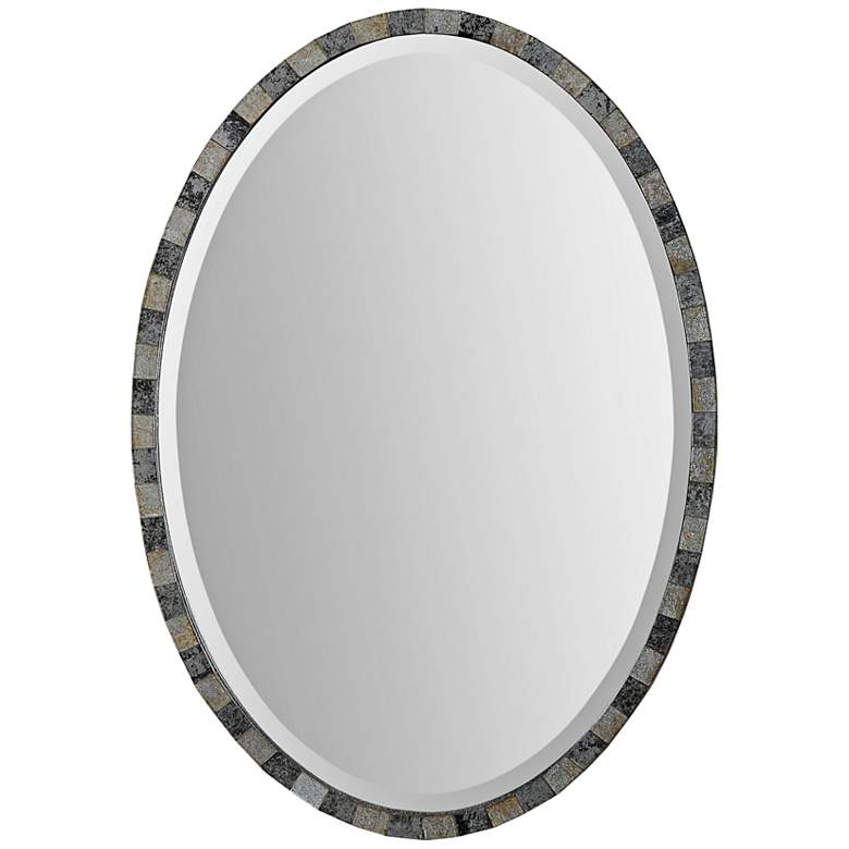 """Uttermost Paredes Antiqued 21"""" x 29"""" Oval Wall Mirror"""