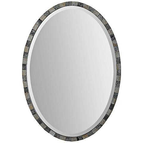 "Paredes Antiqued 21"" x 29"" Oval Wall Mirror"