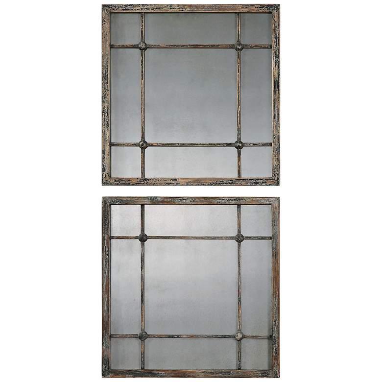"Saragano Distressed 19"" Square Wall Mirrors Set of 2"