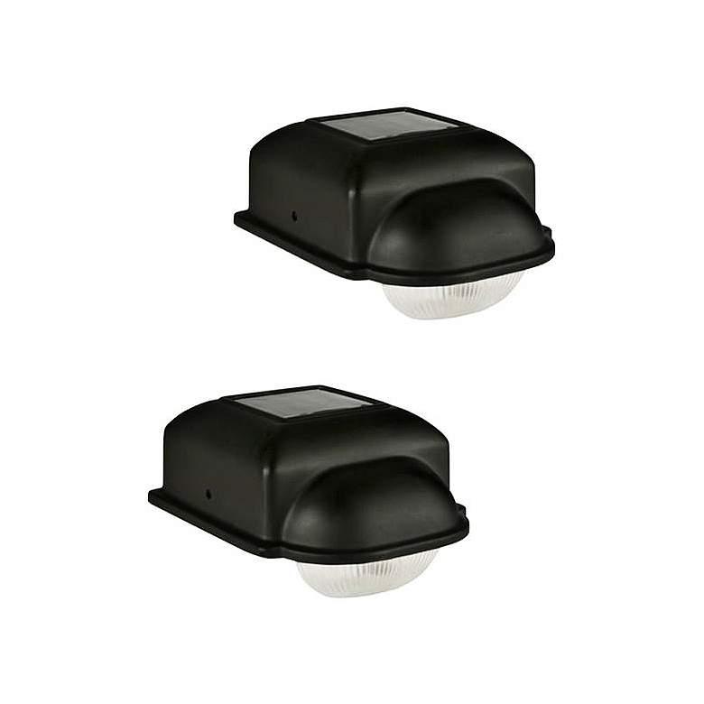 Solar Set of 2 Black LED Deck Lights