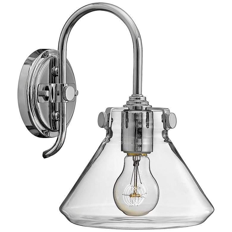 "Hinkley Congress 11 1/4"" High Clear Glass Chrome Wall Sconce"