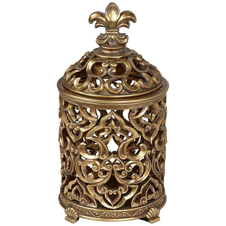 """Sherise Fleur-de-Lis 12 1/2"""" High Antique Gold Jar"""