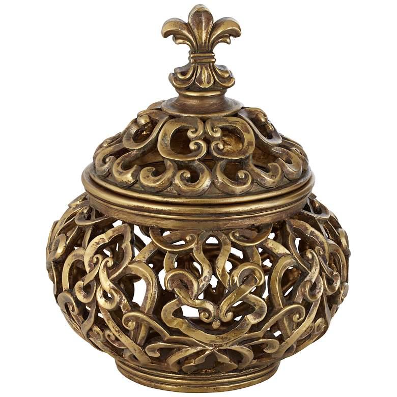 """Sherise Antique Gold 8 3/4"""" High Fleur-de-Lis Round Jar"""