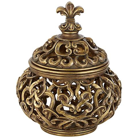 Sherise Antique Gold Fleur-de-Lis Round Box
