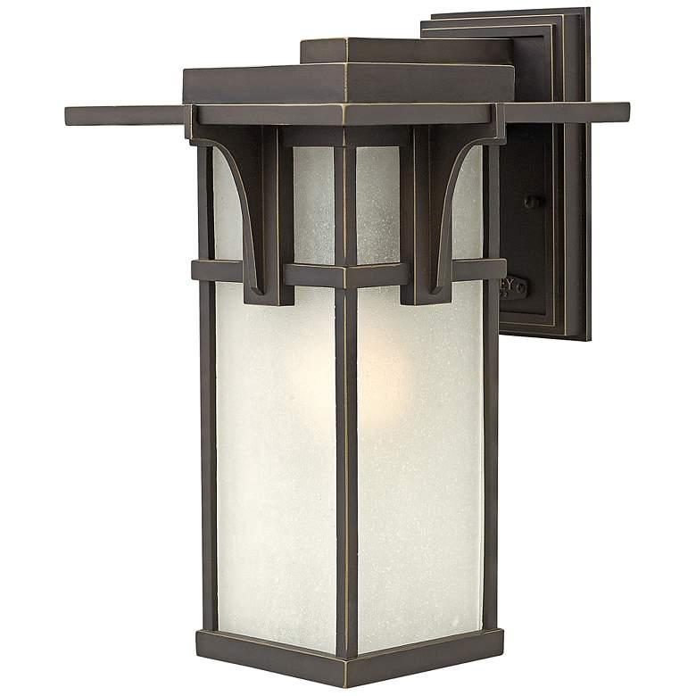 """Manhattan Bronze 15"""" High Seedy Glass Outdoor Wall Light"""