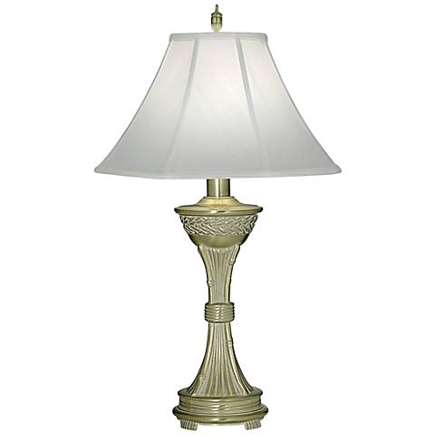 Stiffel White Antique And Satin Brass Table Lamp