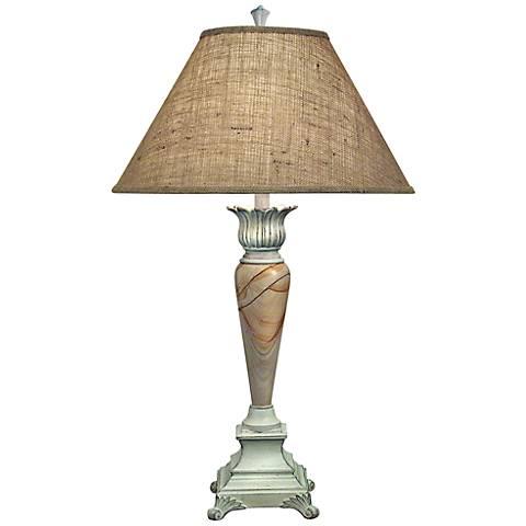 Stiffel Burlap And Distressed White Table Lamp
