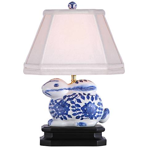 "Blue And White 16""H Porcelain Bunny Accent Table Lamp"