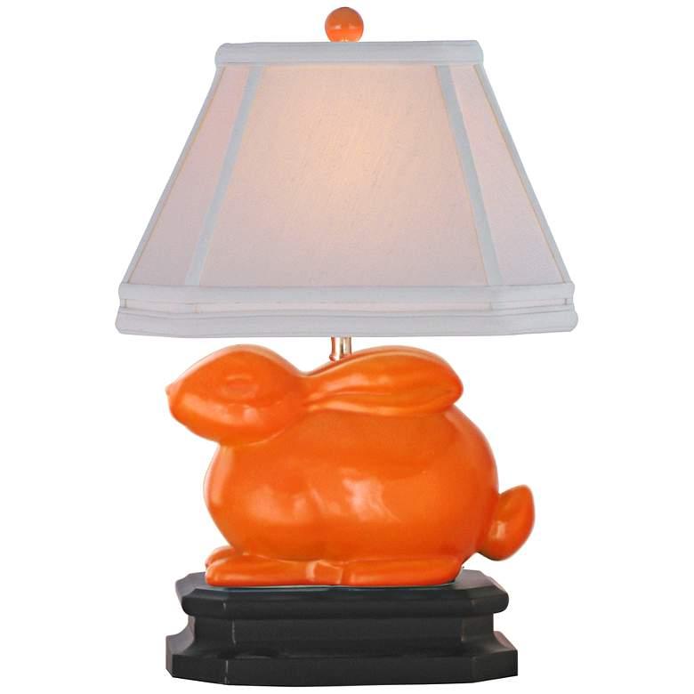 """Orange 14 1/2""""H Porcelain Bunny Accent Table Lamp"""