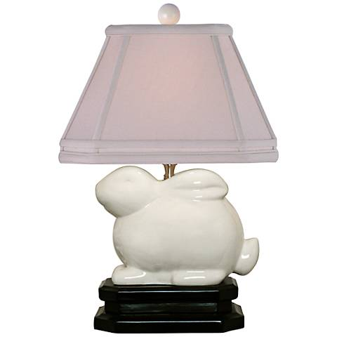 """Ivory 14 1/2"""" high Porcelain Bunny Accent Table Lamp"""