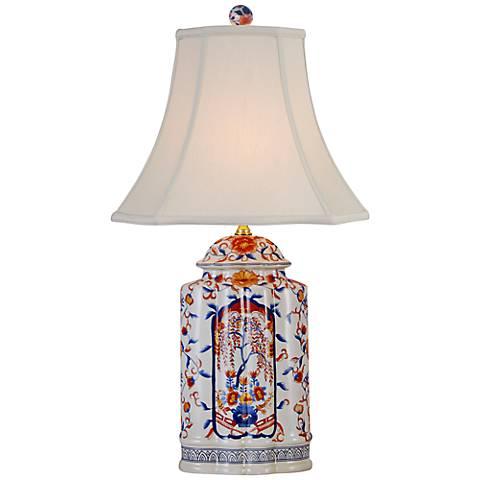 Orange And Blue Floral Imari Vase Table Lamp