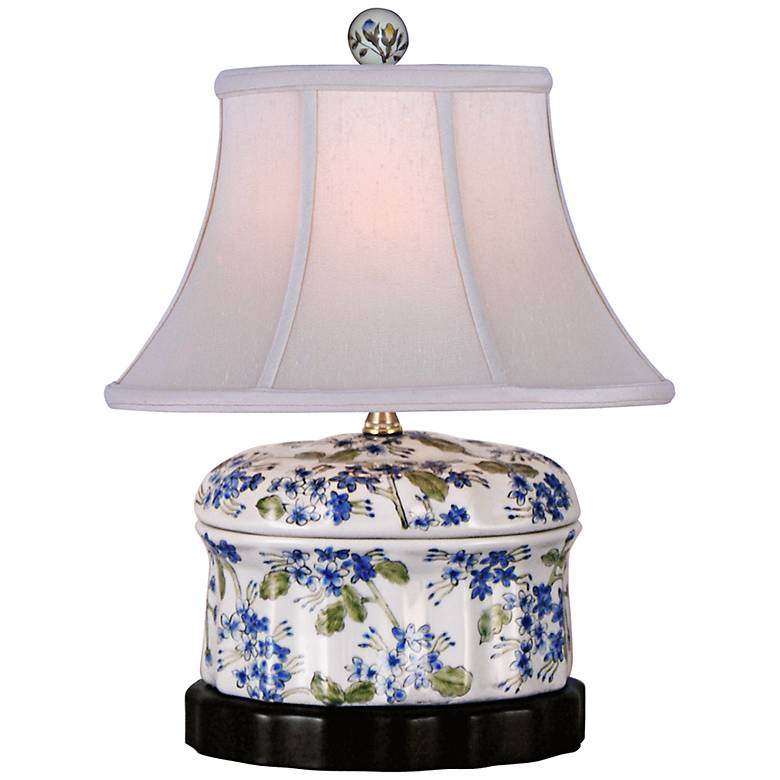 Blue And Green Floral Oval Porcelain Jar Accent Table Lamp