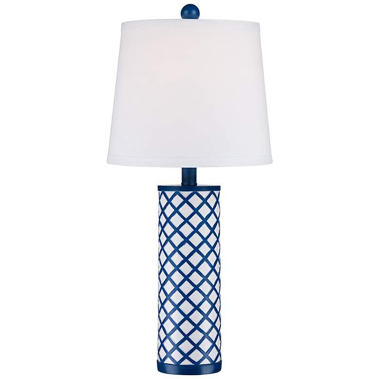 Gisele Blue Lattice Column Table Lamp