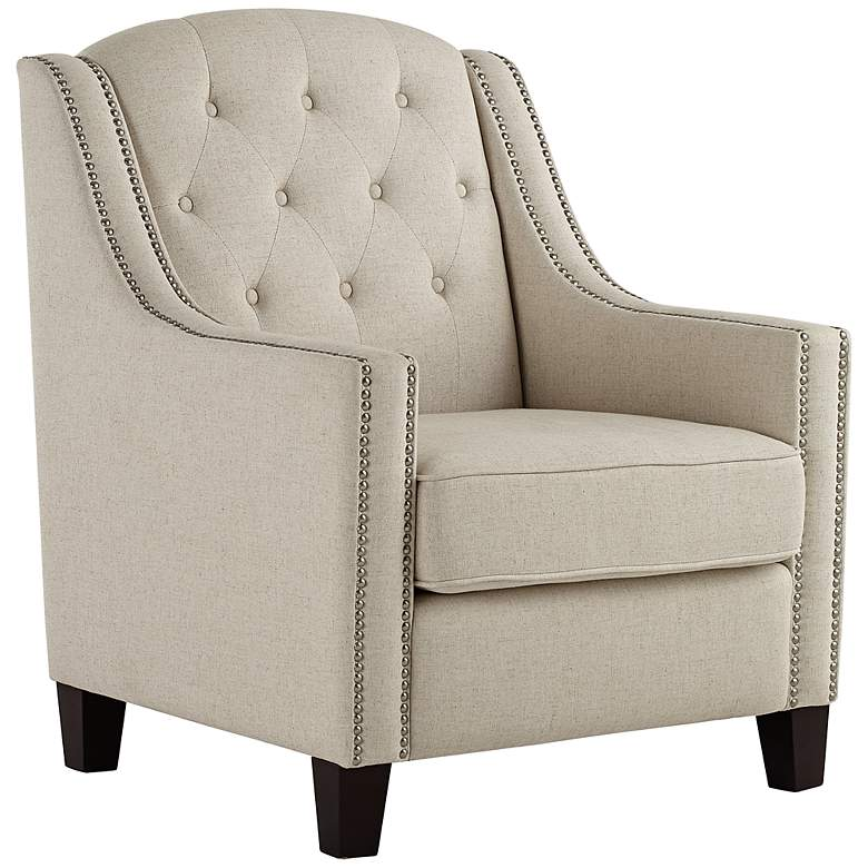 Tivoli Beige Linen Tufted Armchair