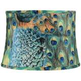 Peacock Print Drum Lamp Shade 14x16x11 (Spider)