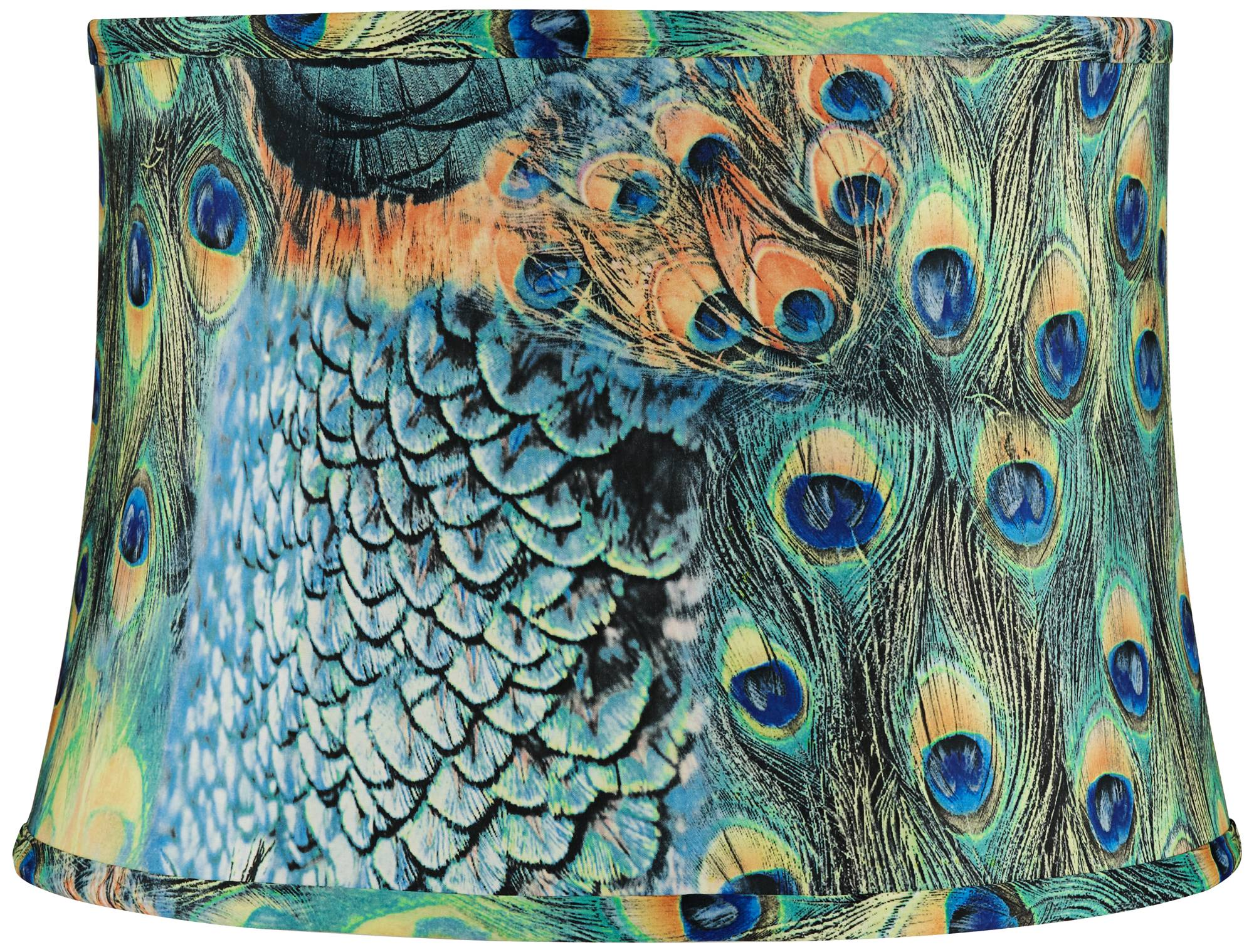 Peacock print drum lamp shade 14x16x11 spider 2y211 lamps plus