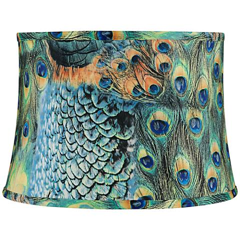 Peacock Print Drum Lamp Shade 14x16x11 Spider 2y211