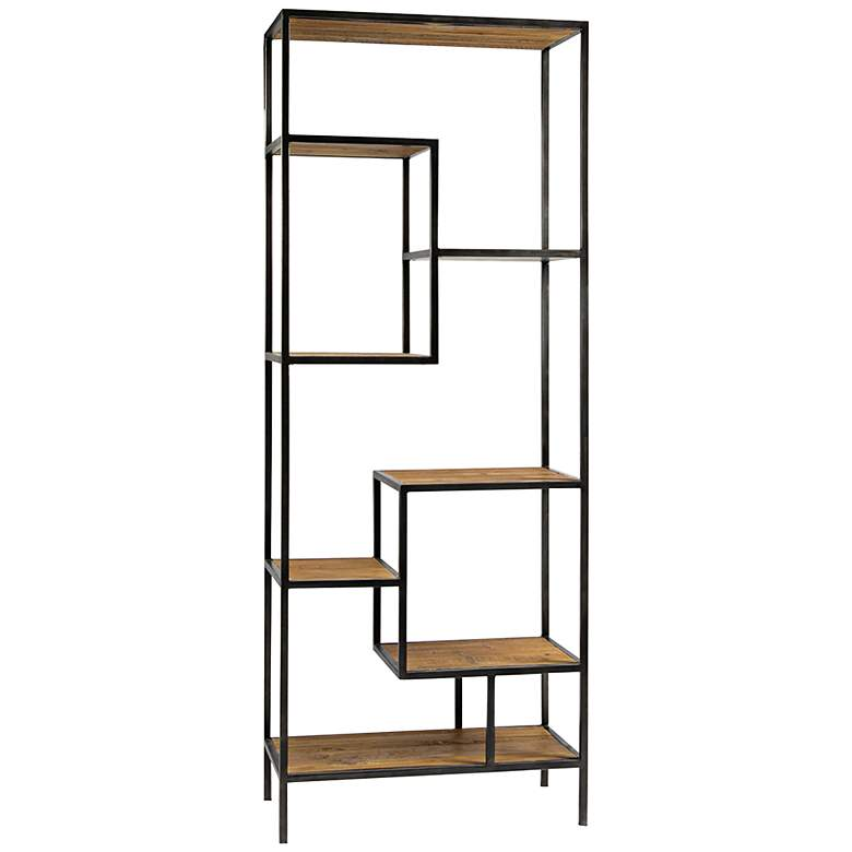 "Helena 102"" High Reclaimed Wood Modern Industrial Bookcase"