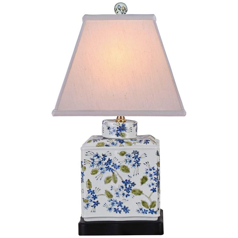 """Hand Painted Blue-Green 20""""H Porcelain Jar Accent Table Lamp"""