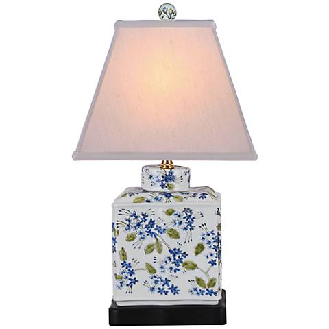 "Hand Painted Blue-Green 20""H Porcelain Jar Accent Table Lamp"
