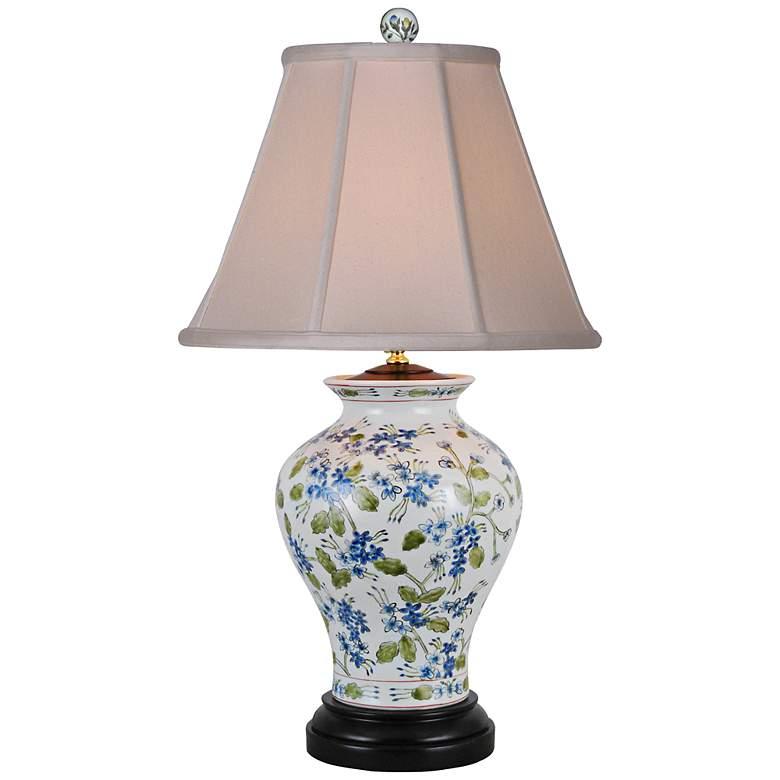 Blue And Green Floral Porcelain Vase Table Lamp