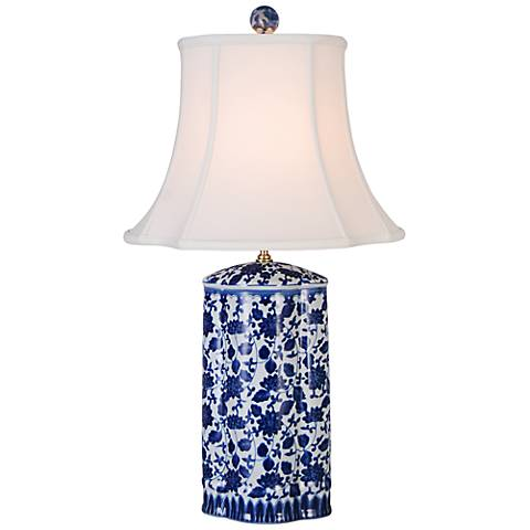 Floral Blue And White Jar Table Lamp