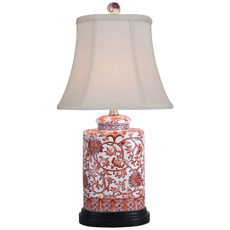 Orange Floral Porcelain Oval Jar Table Lamp