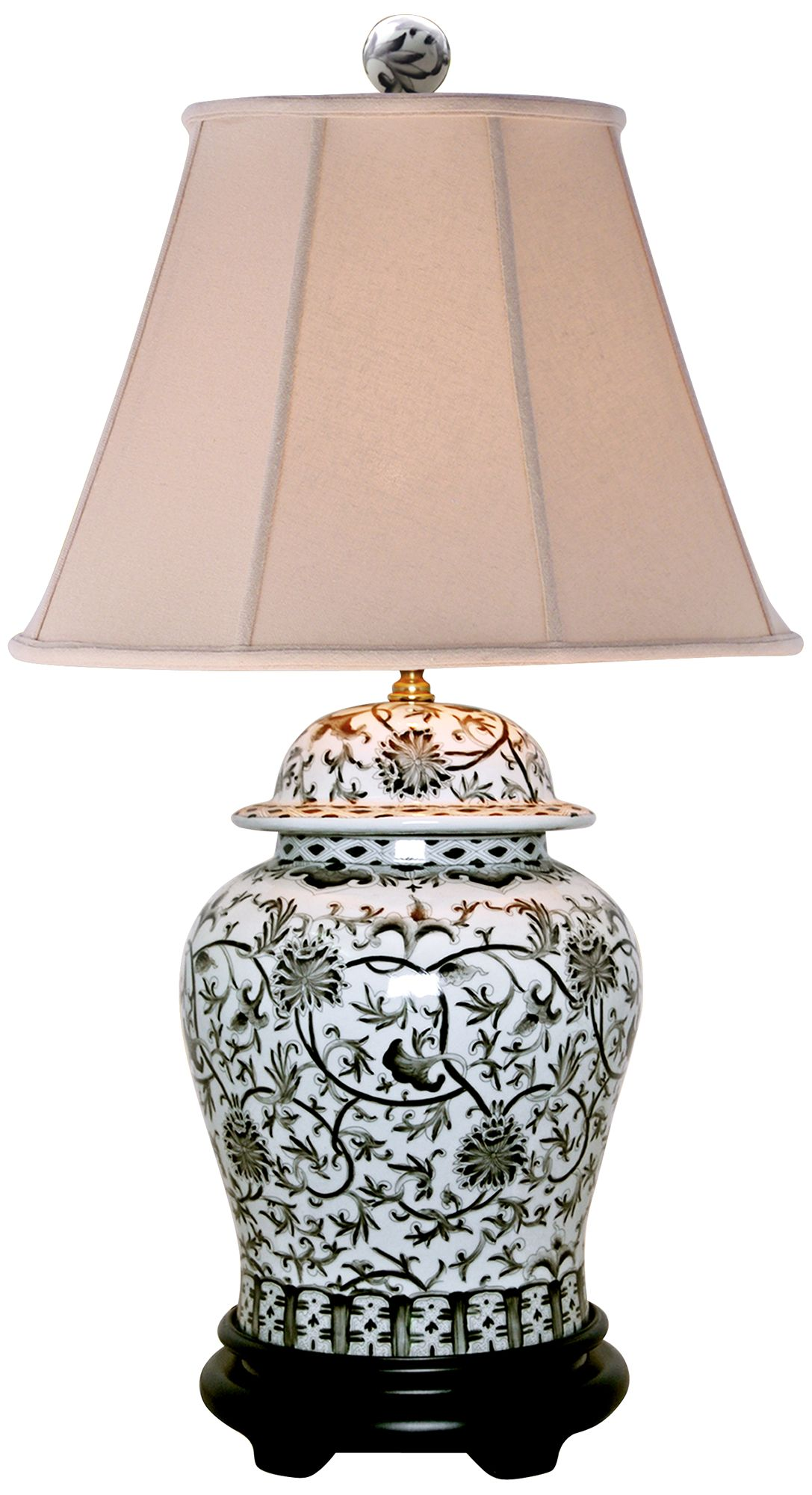Black And White Floral Temple Jar Table Lamp