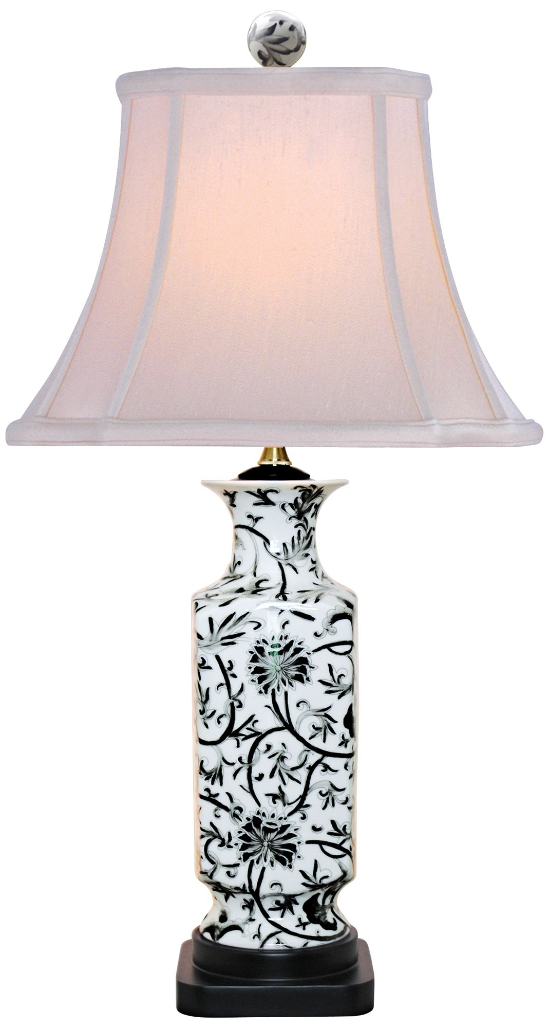 Black And White Floral Vase Table Lamp