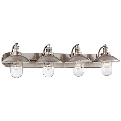 "Downtown Edison 38 1/2""W Brushed Nickel 4-Light Bath Light"