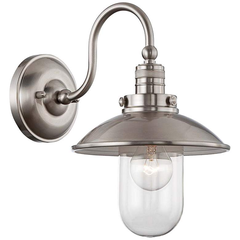 """Downtown Edison Collection 13"""" High Brushed Nickel Sconce"""