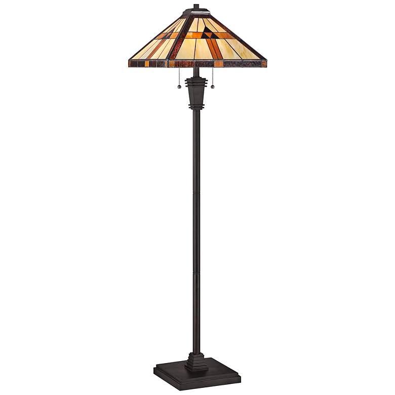 Quoizel Bryant Bronze Patina Tiffany Style Floor Lamp