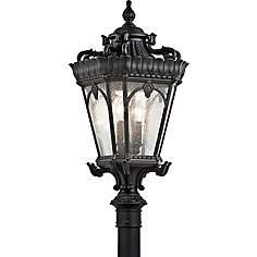 Kichler post light outdoor lighting lamps plus kichler tournai 30 high black outdoor post light mozeypictures Images