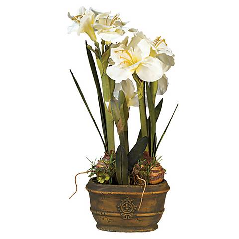 "White Amaryllis 25"" High Faux Flower Arrangement"